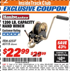 Harbor Freight ITC Coupon 1200 LB. CAPACITY HAND WINCH Lot No. 62537/65115 Expired: 9/30/18 - $22.99