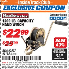 Harbor Freight ITC Coupon 1200 LB. CAPACITY HAND WINCH Lot No. 62537/65115 Expired: 11/30/18 - $22.99