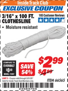 "Harbor Freight ITC Coupon 3/16"" x 100 FT. CLOTHESLINE Lot No. 66565 Valid Thru: 3/31/20 - $2.99"