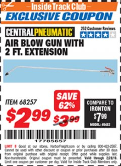 Harbor Freight ITC Coupon AIR BLOW GUN WITH 2 FT. EXTENSION Lot No. 68257 Dates Valid: 12/31/69 - 2/28/19 - $2.99