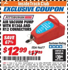 Harbor Freight ITC Coupon AIR VACUUM PUMP WITH R134A AND R12 CONNECTORS Lot No. 96677 Expired: 6/30/18 - $12.99