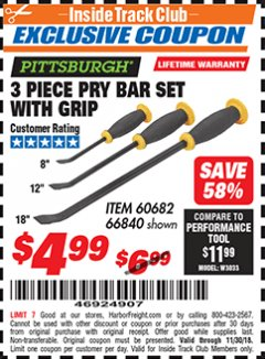 Harbor Freight ITC Coupon 3 PIECE PRY BAR SET WITH GRIP Lot No. 60682/66840 Expired: 11/30/18 - $4.99
