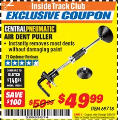 Harbor Freight ITC Coupon AIR DENT PULLER Lot No. 69718 Expired: 9/30/19 - $49.99