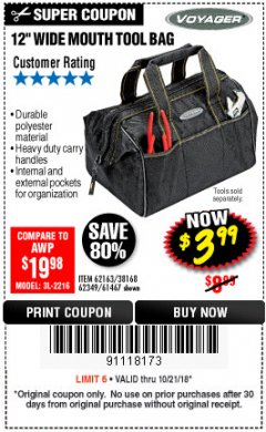 "Harbor Freight Coupon 12"" TOOL BAG Lot No. 61467/62163/62349 Expired: 10/21/18 - $3.99"