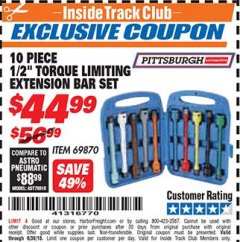 "Harbor Freight ITC Coupon 10 PIECE 1/2"" DRIVE TORQUE LIMITING EXTENSION BAR SET Lot No. 69870 Expired: 6/30/18 - $44.99"