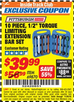 "Harbor Freight ITC Coupon 10 PIECE 1/2"" DRIVE TORQUE LIMITING EXTENSION BAR SET Lot No. 69870 Expired: 11/30/18 - $39.99"