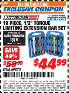 "Harbor Freight ITC Coupon 10 PIECE 1/2"" DRIVE TORQUE LIMITING EXTENSION BAR SET Lot No. 69870 Expired: 8/31/19 - $44.99"