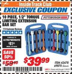 "Harbor Freight ITC Coupon 10 PIECE 1/2"" DRIVE TORQUE LIMITING EXTENSION BAR SET Lot No. 69870 Expired: 11/30/19 - $39.99"