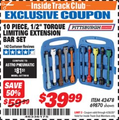 "Harbor Freight ITC Coupon 10 PIECE 1/2"" DRIVE TORQUE LIMITING EXTENSION BAR SET Lot No. 69870 Expired: 4/30/20 - $39.99"