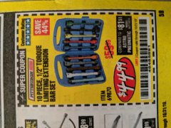 "Harbor Freight Coupon 10 PIECE 1/2"" DRIVE TORQUE LIMITING EXTENSION BAR SET Lot No. 69870 Expired: 10/31/19 - $44.99"