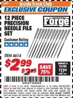 Harbor Freight ITC Coupon 12 PIECE PRECISION NEEDLE FILE SET Lot No. 4614 Expired: 11/30/18 - $2.99