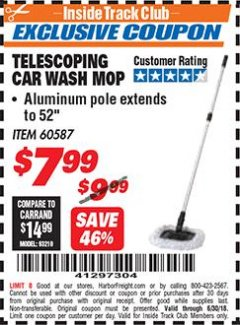 Harbor Freight ITC Coupon TELESCOPING CAR WASH MOP Lot No. 60587 Dates Valid: 12/31/69 - 6/30/18 - $7.99