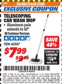 Harbor Freight ITC Coupon TELESCOPING CAR WASH MOP Lot No. 60587 Expired: 3/31/19 - $7.99