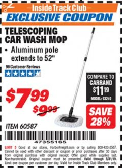 Harbor Freight ITC Coupon TELESCOPING CAR WASH MOP Lot No. 60587 Expired: 5/31/19 - $7.99
