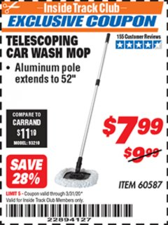 Harbor Freight ITC Coupon TELESCOPING CAR WASH MOP Lot No. 60587 Expired: 3/31/20 - $7.99