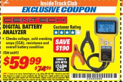 Harbor Freight ITC Coupon DIGITAL AUTOMOTIVE BATTERY ANALYZER Lot No. 66892 Expired: 5/31/18 - $59.99