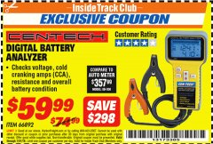 Harbor Freight ITC Coupon DIGITAL AUTOMOTIVE BATTERY ANALYZER Lot No. 66892 Expired: 7/31/18 - $59.99