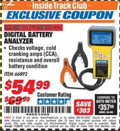 Harbor Freight ITC Coupon DIGITAL AUTOMOTIVE BATTERY ANALYZER Lot No. 66892 Expired: 11/30/18 - $54.99