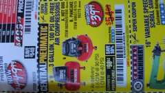 Harbor Freight Coupon 3 GALLON 100 PSI OILLESS HOT DOG STYLE AIR COMPRESSOR Lot No. 97080/69269 EXPIRES: 2/23/19 - $39.99
