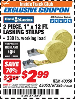 "Harbor Freight ITC Coupon 1"" x 12 FT. LASHING STRAPS SET OF 2 Lot No. 40058/67386 Expired: 9/30/19 - $2.99"