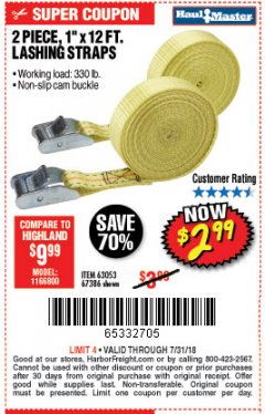 "Harbor Freight Coupon 1"" x 12 FT. LASHING STRAPS SET OF 2 Lot No. 40058/67386 Expired: 7/31/18 - $2.99"