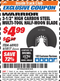 "Harbor Freight ITC Coupon 3-1/2"" HIGH CARBON STEEL MULTI-TOOL HALF-MOON BLADE Lot No. 61817/68903 Dates Valid: 2/1/19 - 2/28/19 - $4.99"