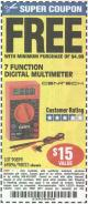 Harbor Freight FREE Coupon 7 FUNCTION DIGITAL MULTIMETER Lot No. 90899/98025/69096/63604/63758/63759 Expired: 1/24/16 - FWP
