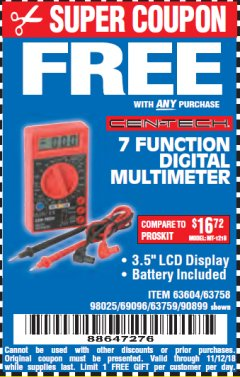 Harbor Freight FREE Coupon 7 FUNCTION DIGITAL MULTIMETER Lot No. 90899/98025/69096/63604/63758/63759 Valid Thru: 11/12/18 - FWP
