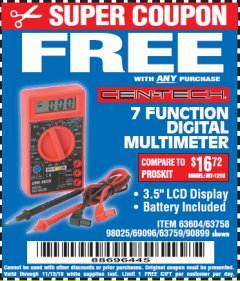 Harbor Freight FREE Coupon 7 FUNCTION DIGITAL MULTIMETER Lot No. 90899/98025/69096/63604/63758/63759 Valid Thru: 11/13/18 - FWP