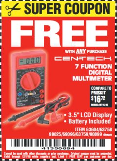 Harbor Freight FREE Coupon 7 FUNCTION DIGITAL MULTIMETER Lot No. 90899/98025/69096/63604/63758/63759 Valid Thru: 12/1/18 - FWP