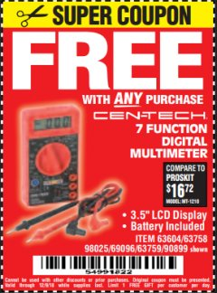 Harbor Freight FREE Coupon 7 FUNCTION DIGITAL MULTIMETER Lot No. 90899/98025/69096/63604/63758/63759 Valid Thru: 12/9/18 - FWP