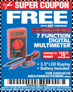 Harbor Freight FREE Coupon 7 FUNCTION DIGITAL MULTIMETER Lot No. 90899/98025/69096/63604/63758/63759 Valid Thru: 6/30/19 - FWP
