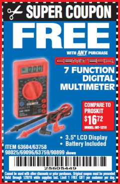 Harbor Freight FREE Coupon 7 FUNCTION DIGITAL MULTIMETER Lot No. 90899/98025/69096/63604/63758/63759 Valid Thru: 1/20/19 - FWP