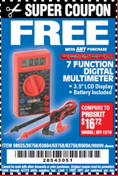 Harbor Freight FREE Coupon 7 FUNCTION DIGITAL MULTIMETER Lot No. 90899/98025/69096/63604/63758/63759 Valid Thru: 4/7/19 - FWP