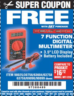 Harbor Freight FREE Coupon 7 FUNCTION DIGITAL MULTIMETER Lot No. 90899/98025/69096/63604/63758/63759 Valid Thru: 4/1/19 - FWP