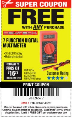 Harbor Freight FREE Coupon 7 FUNCTION DIGITAL MULTIMETER Lot No. 90899/98025/69096/63604/63758/63759 Expired: 1/27/19 - FWP