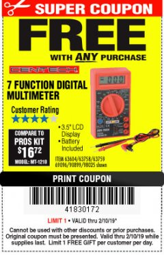 Harbor Freight FREE Coupon 7 FUNCTION DIGITAL MULTIMETER Lot No. 90899/98025/69096/63604/63758/63759 Expired: 2/10/19 - FWP
