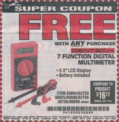 Harbor Freight FREE Coupon 7 FUNCTION DIGITAL MULTIMETER Lot No. 90899/98025/69096/63604/63758/63759 Valid Thru: 4/13/19 - FWP