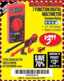 Harbor Freight Coupon 7 FUNCTION DIGITAL MULTIMETER Lot No. 90899/98025/69096/63604/63758/63759 Valid Thru: 7/24/18 - $3.99