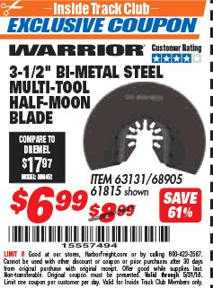 "Harbor Freight ITC Coupon 3-1/2"" HIGH SPEED STEEL MULTI-TOOL HALF-MOON BLADE Lot No. 61815/68905 Expired: 5/31/18 - $6.99"