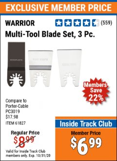 Harbor Freight ITC Coupon 3 PIECE MULTI-TOOL BLADE SET Lot No. 61827/65979/68966 Expired: 10/31/20 - $6.99