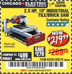 "Harbor Freight Coupon 2.5 HP, 10"" TILE/BRICK SAW Lot No. 69275/62391 Expired: 6/13/18 - $219.99"