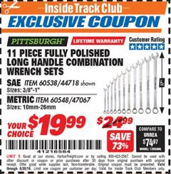Harbor Freight ITC Coupon 11 PIECE FULLY POLISHED LONG HANDLE COMBINATION WRENCH SETS Lot No. 44718/60538/47067/60548 Expired: 6/30/18 - $19.99
