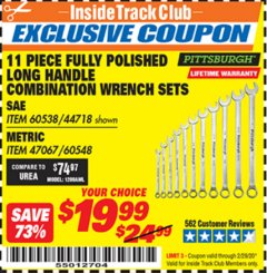Harbor Freight ITC Coupon 11 PIECE FULLY POLISHED LONG HANDLE COMBINATION WRENCH SETS Lot No. 44718/60538/47067/60548 Valid: 2/1/20 - 2/29/20 - $19.99
