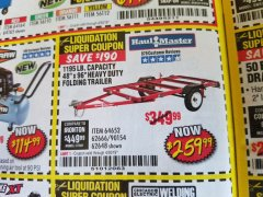 Harbor Freight Coupon 1195 LB. CAPACITY 4 FT. x 8 FT. HEAVY DUTY FOLDABLE UTILITY TRAILER Lot No. 62170/62648/62666/90154 Expired: 4/30/19 - $259.99