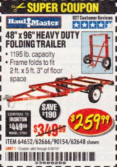 Harbor Freight Coupon 1195 LB. CAPACITY 4 FT. x 8 FT. HEAVY DUTY FOLDABLE UTILITY TRAILER Lot No. 62170/62648/62666/90154 Expired: 6/30/19 - $259.99