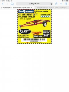 Harbor Freight Coupon 1195 LB. CAPACITY 4 FT. x 8 FT. HEAVY DUTY FOLDABLE UTILITY TRAILER Lot No. 62170/62648/62666/90154 Expired: 12/2/19 - $259.99