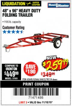 Harbor Freight Coupon 1195 LB. CAPACITY 4 FT. x 8 FT. HEAVY DUTY FOLDABLE UTILITY TRAILER Lot No. 62170/62648/62666/90154 Expired: 11/10/19 - $259.99