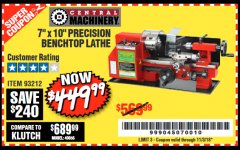 "Harbor Freight Coupon 7"" x 10"" PRECISION LATHE Lot No. 93212 Expired: 11/3/18 - $449.99"