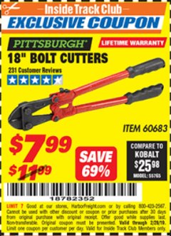 "Harbor Freight ITC Coupon 18"" BOLT CUTTERS Lot No. 41148/60683 Expired: 2/28/19 - $7.99"